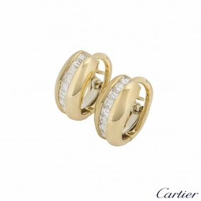 Cartier Yellow Gold Bombe Diamond Earrings